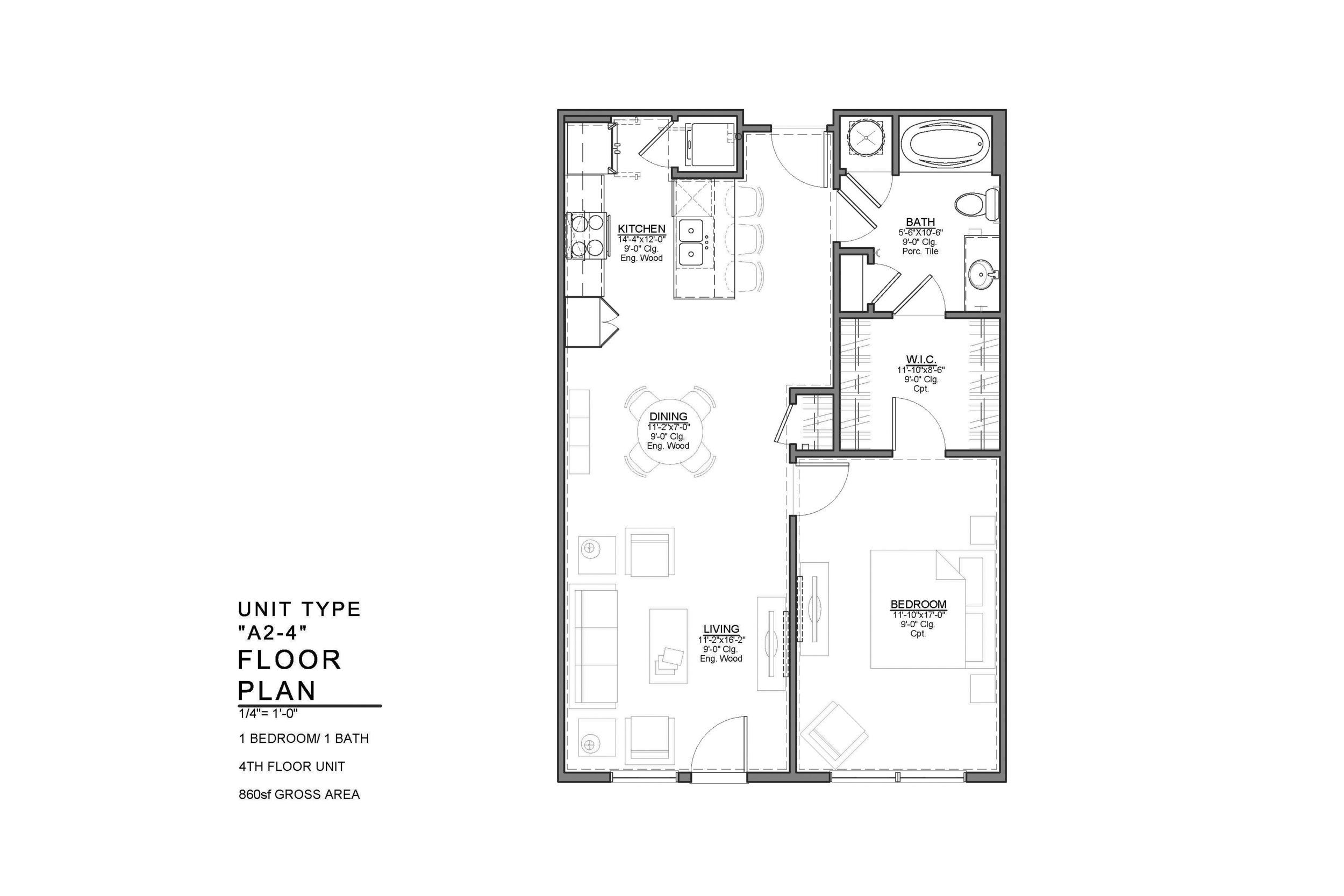 A2-4 FLOOR PLAN: 1 BEDROOM / 1 BATH