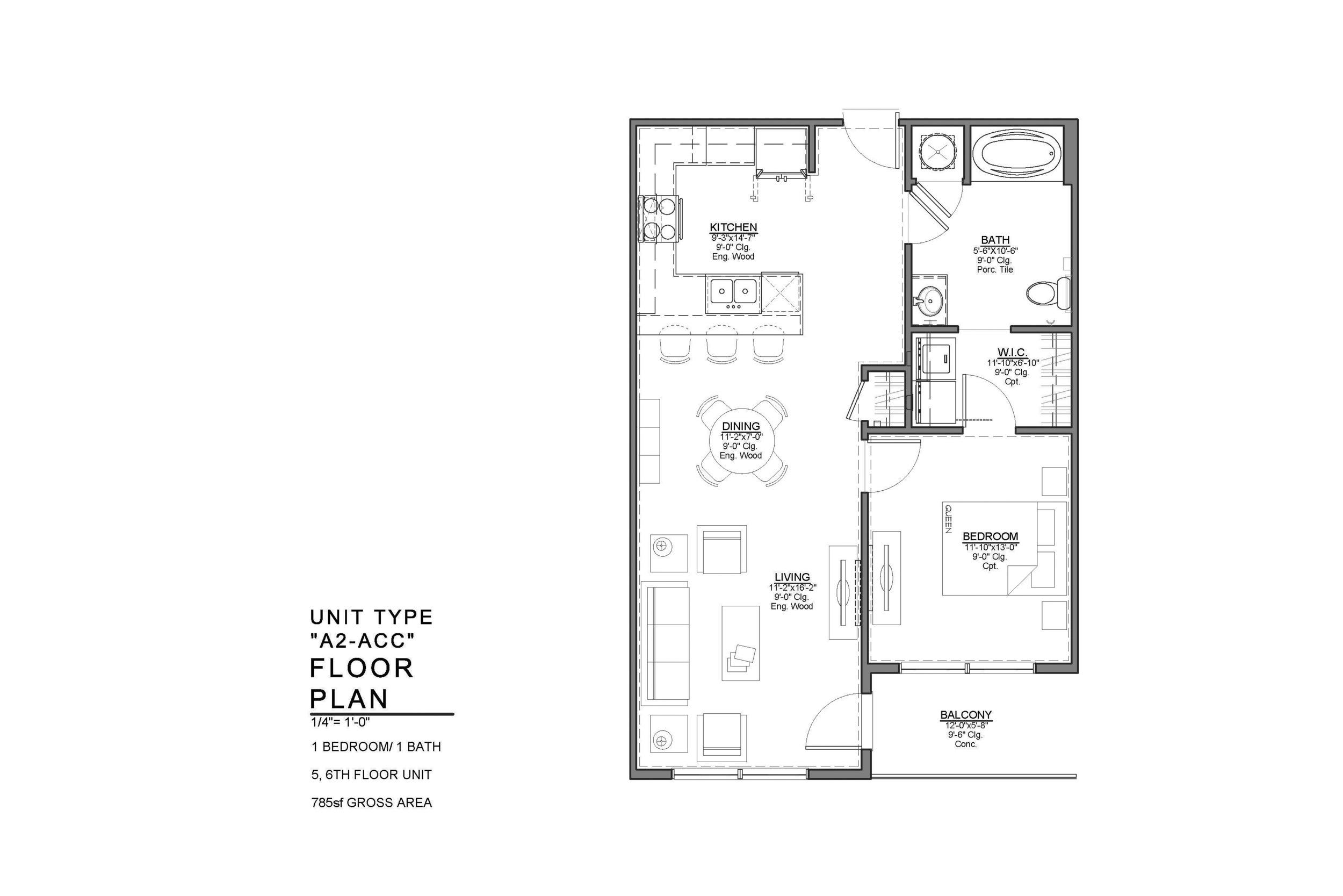 A2-ACC FLOOR PLAN: 1 BEDROOM / 1 BATH
