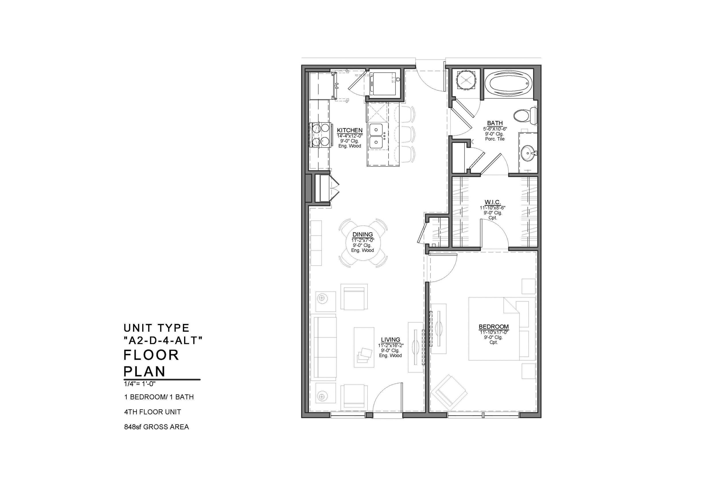 A2-D-4-ALT FLOOR PLAN: 1 BEDROOM / 1 BATH