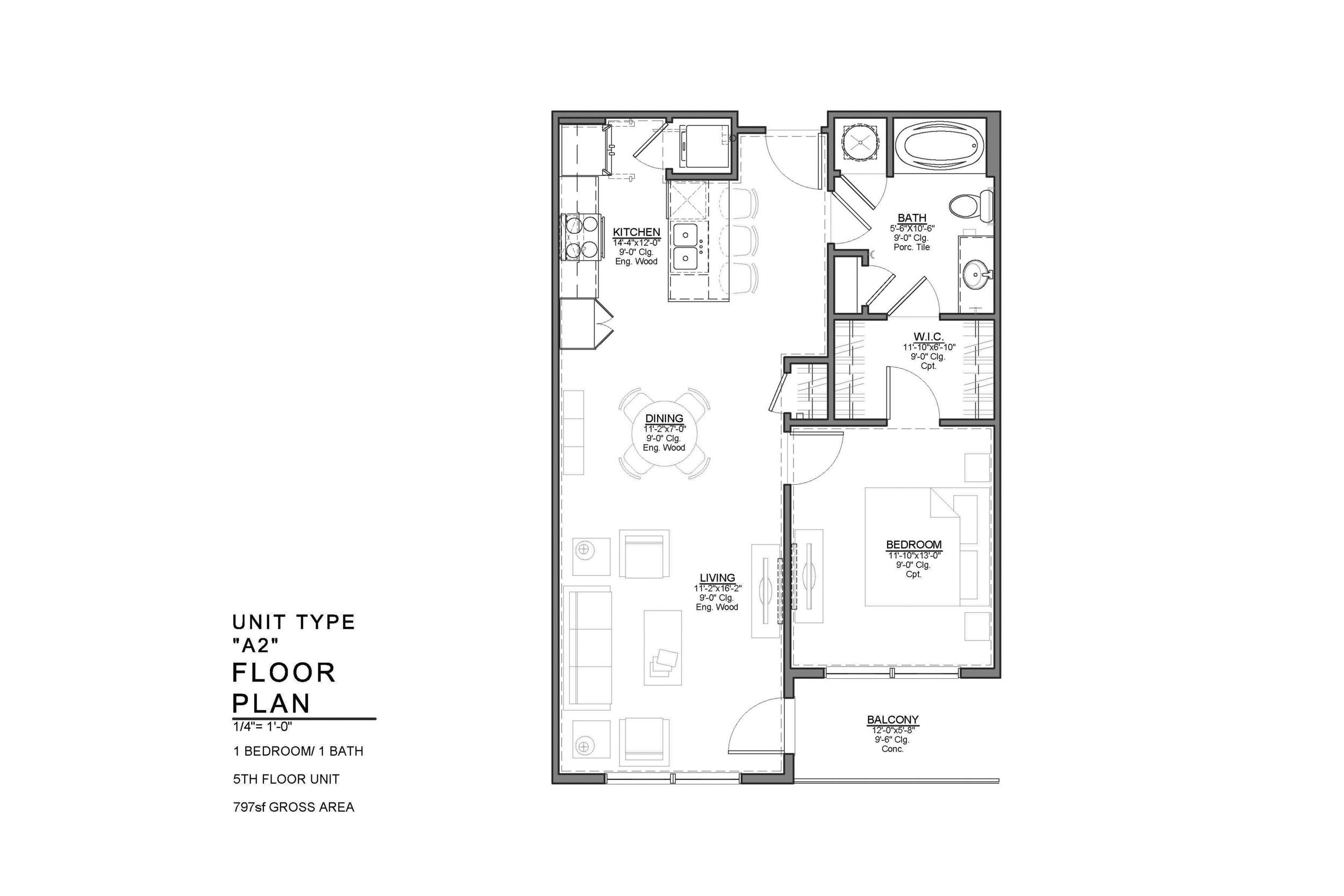 A2 FLOOR PLAN: 1 BEDROOM / 1 BATH