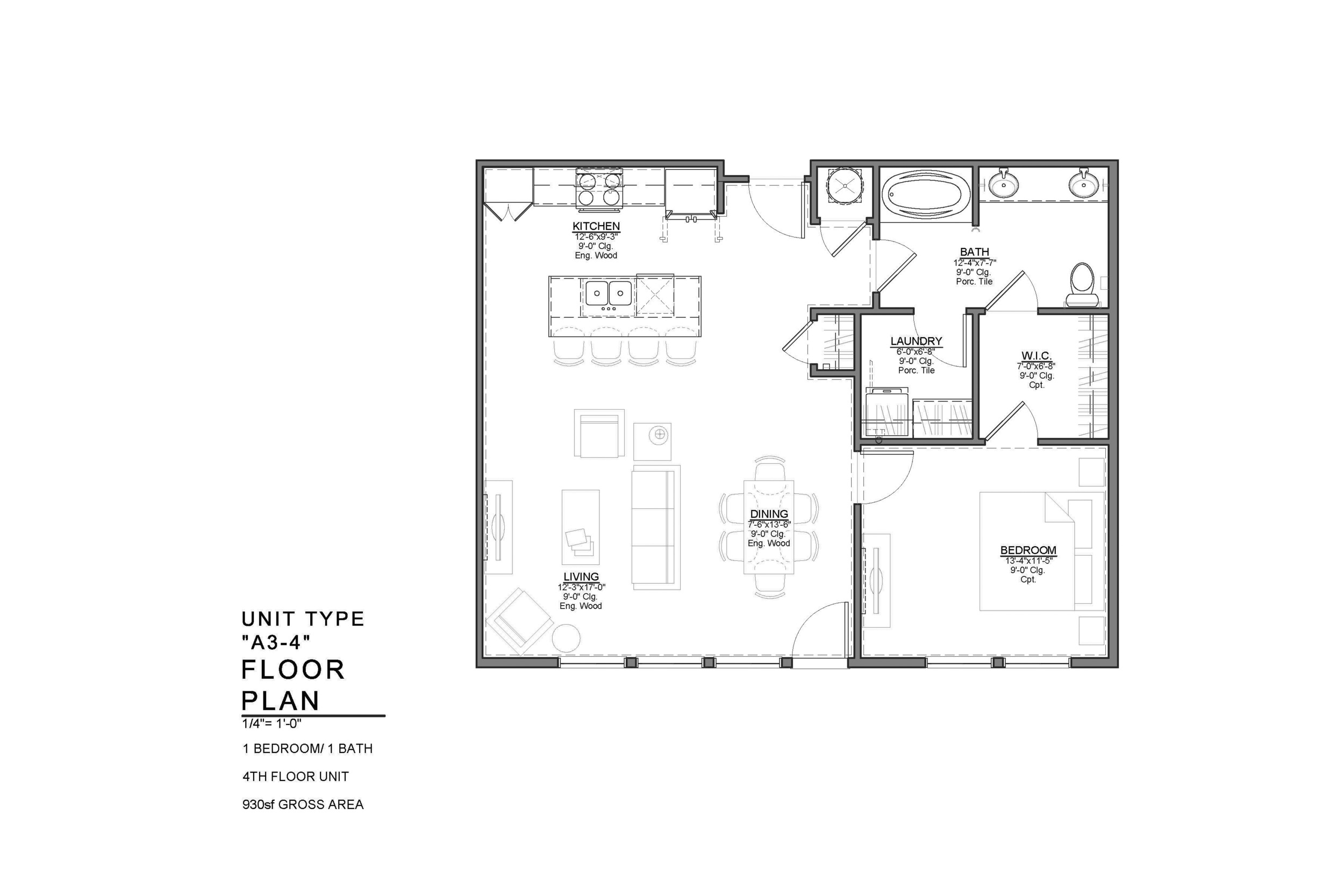 A3-4 FLOOR PLAN: 1 BEDROOM / 1 BATH