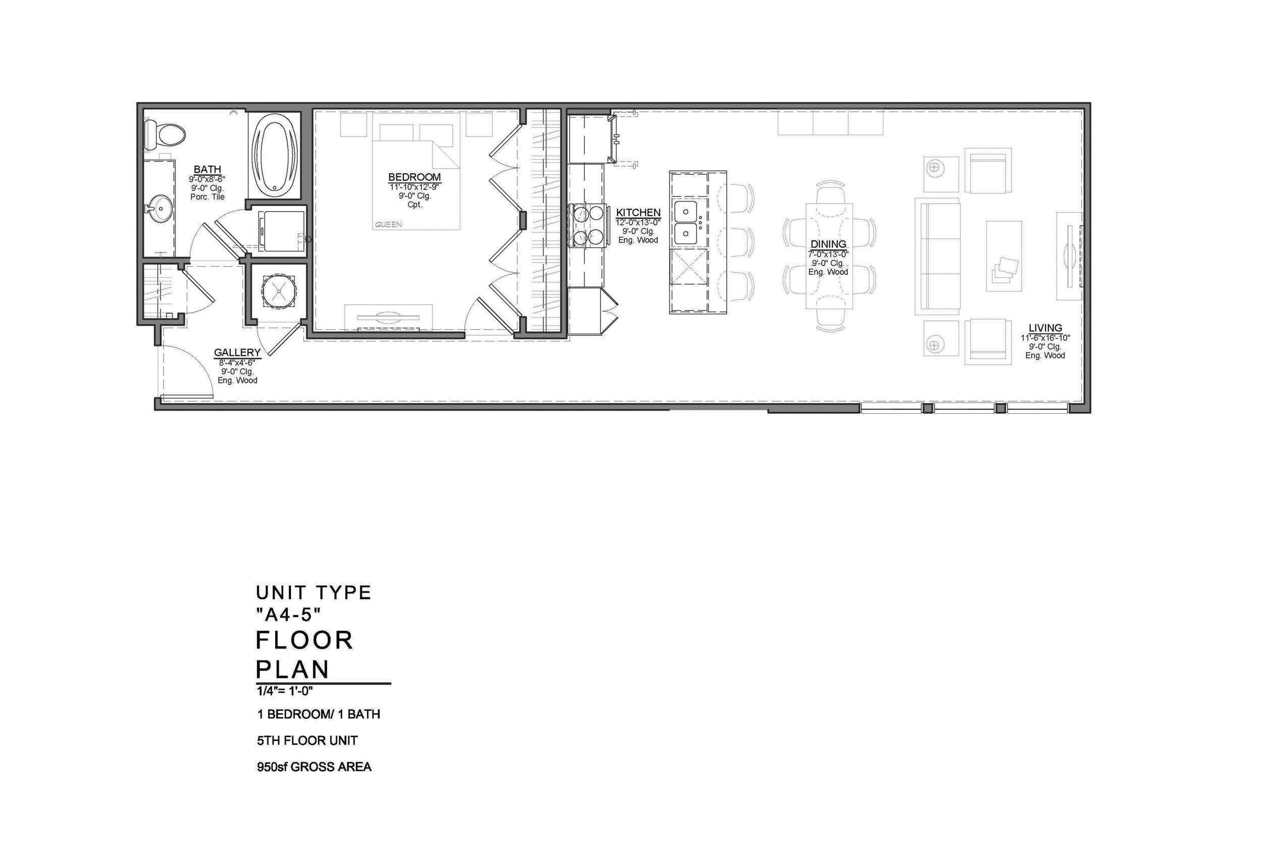 A4-5: 1 BEDROOM / 1 BATH