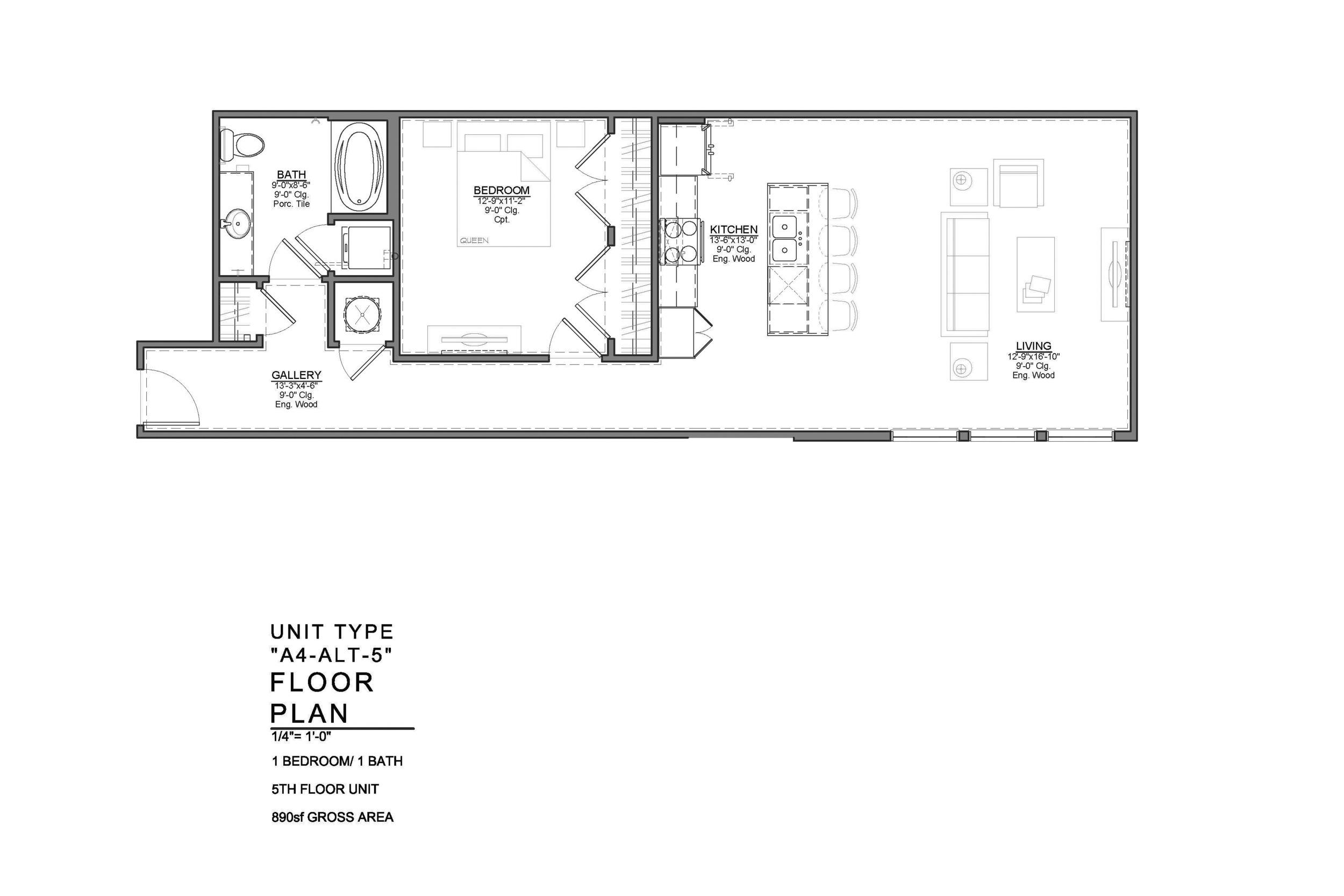 A4-ALT-5 FLOOR PLAN: 1 BEDROOM / 1 BATH