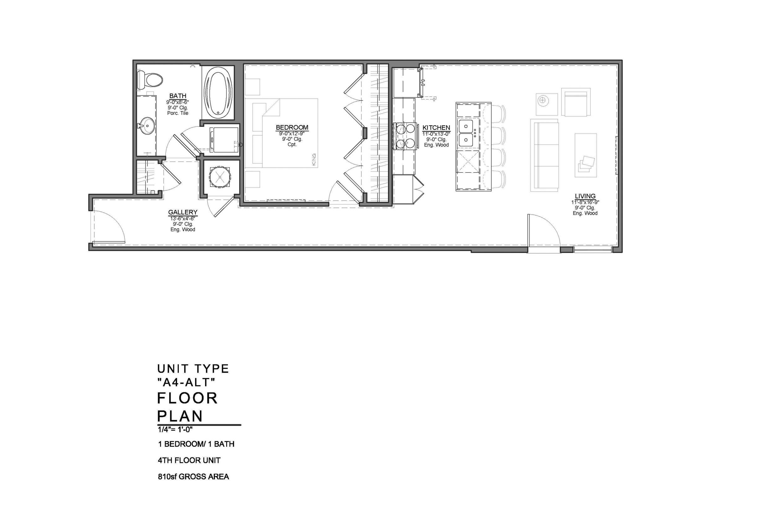 A4-ALT FLOOR PLAN: 1 BEDROOM / 1 BATH