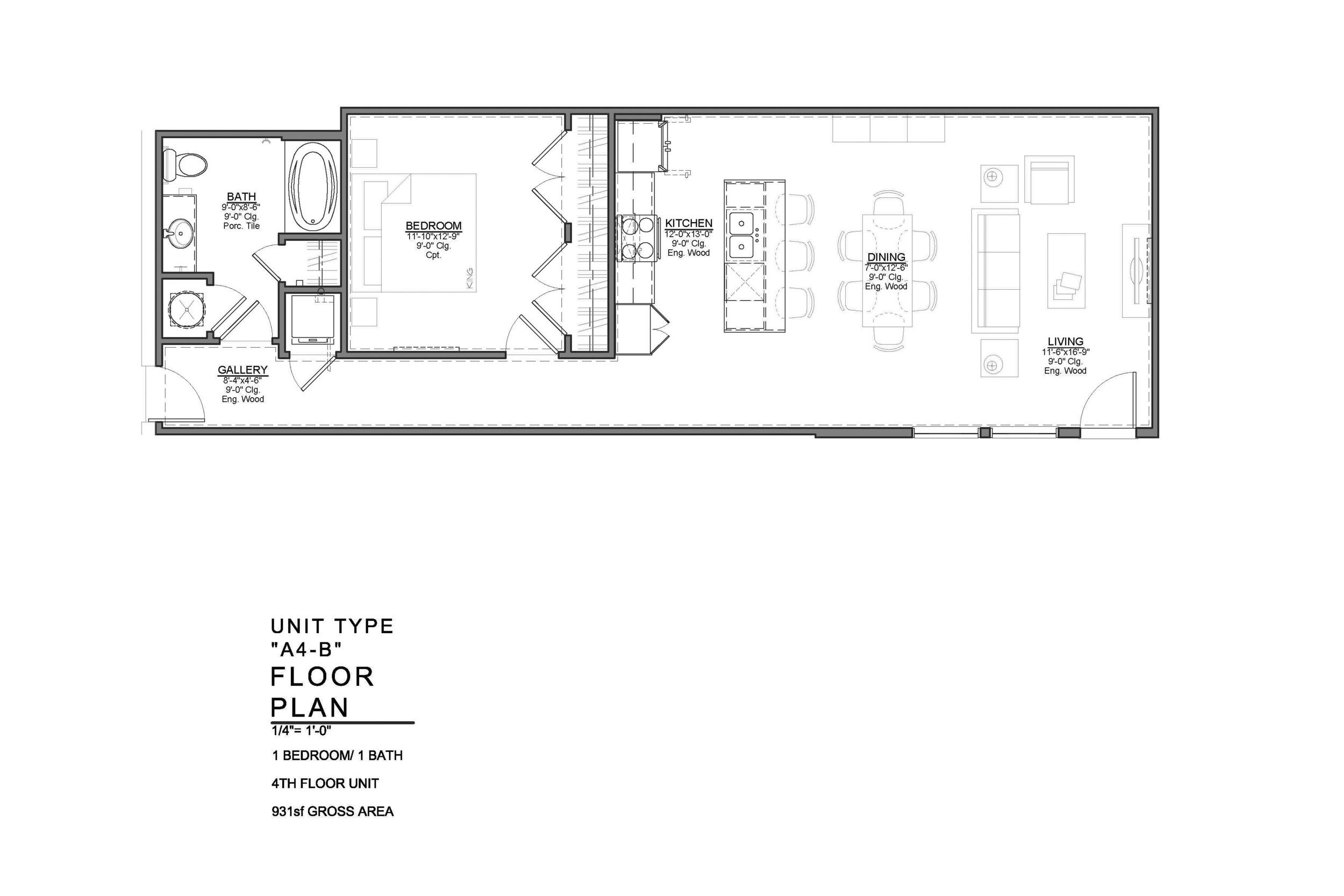 A4-B FLOOR PLAN: 1 BEDROOM / 1 BATH