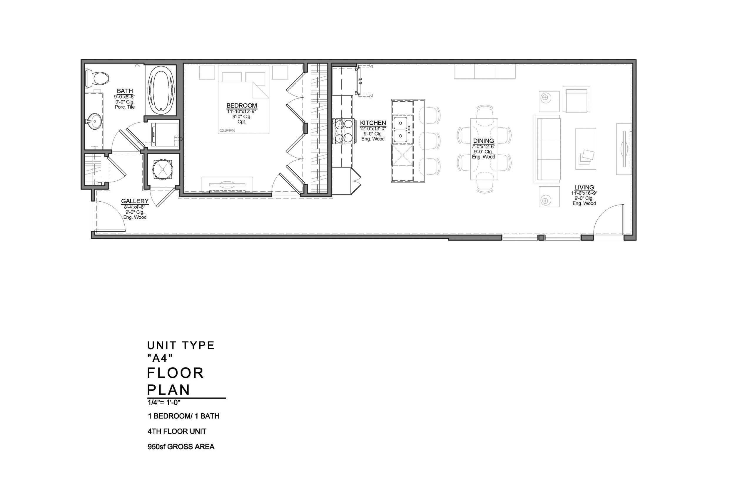 A4 FLOOR PLAN: 1 BEDROOM / 1 BATH