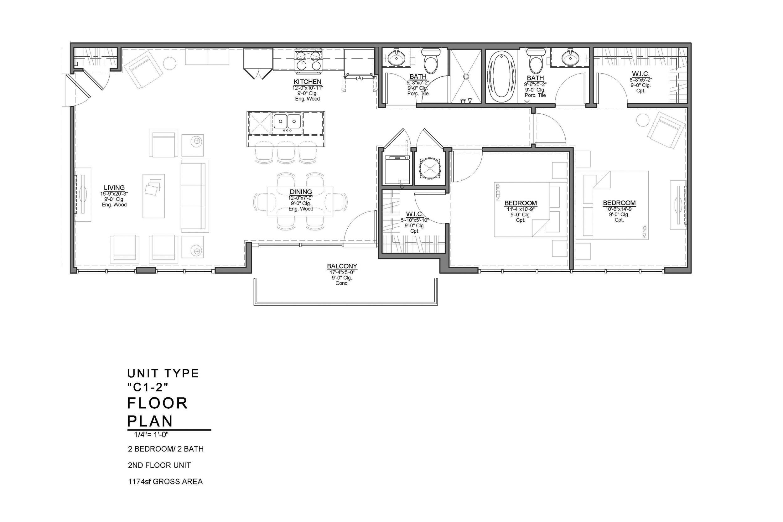 C1-2 FLOOR PLAN: 2 BEDROOM / 2 BATH