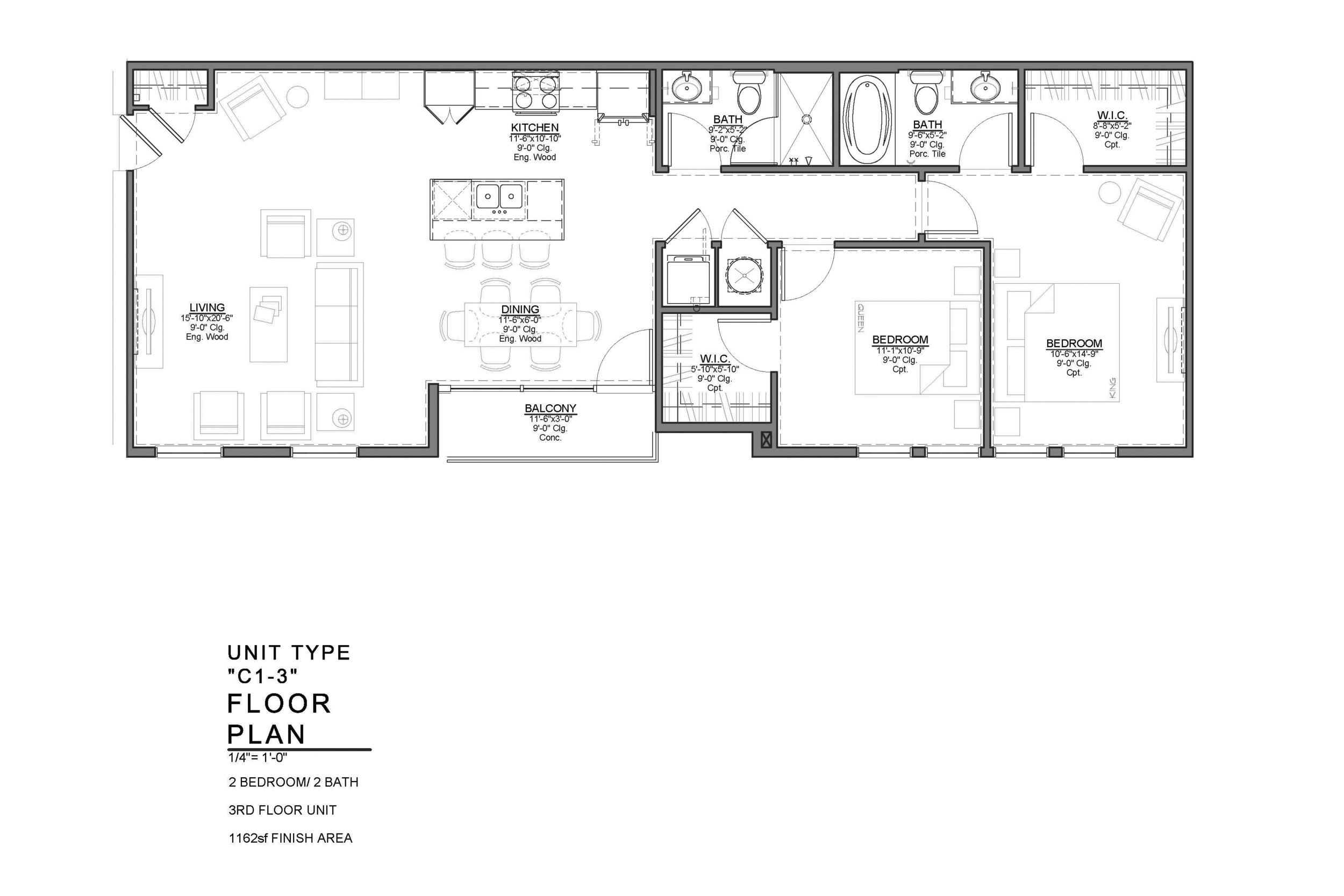 C1-3 FLOOR PLAN: 2 BEDROOM / 2 BATH