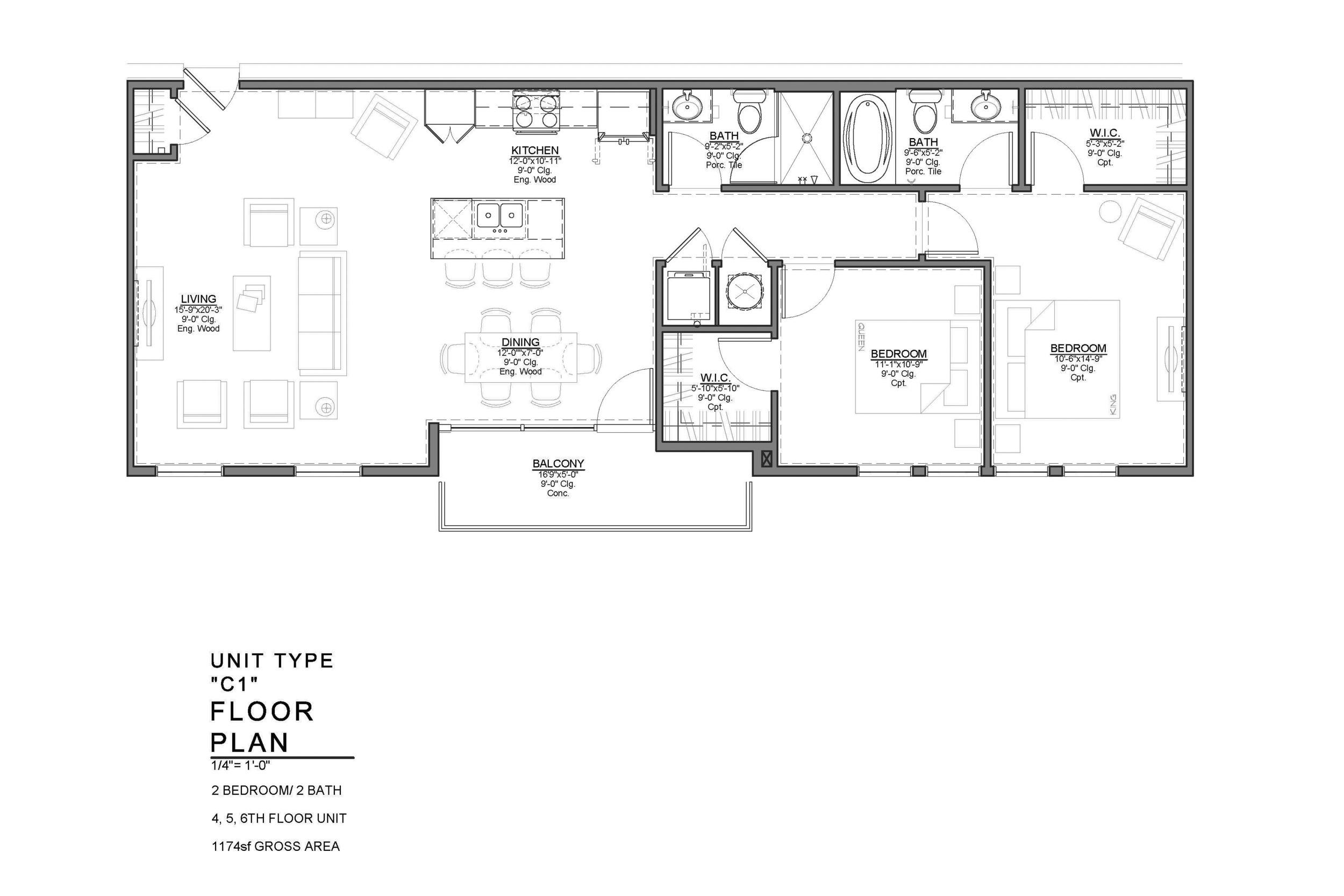 C1 FLOOR PLAN: 2 BEDROOM / 2 BATH