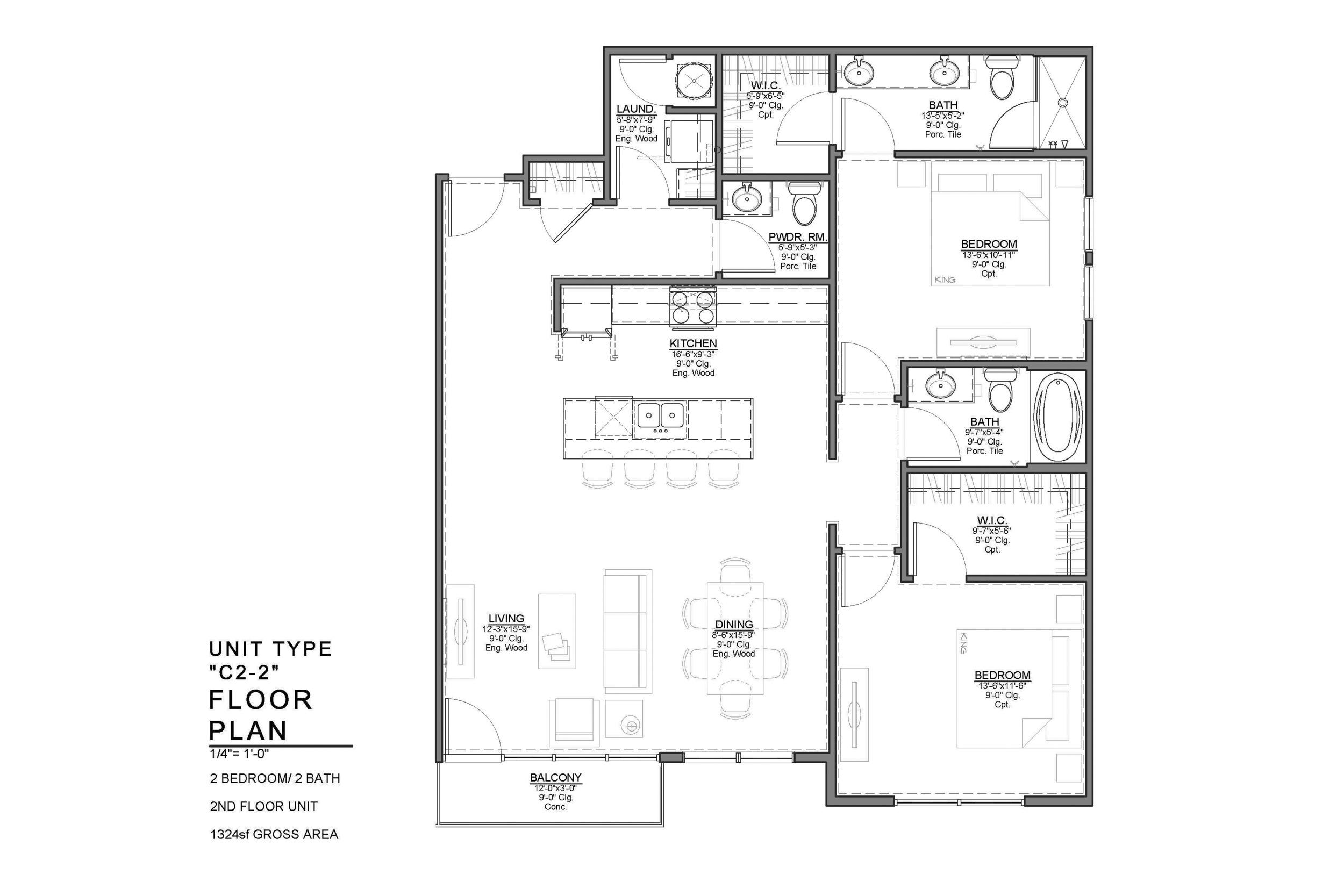 C2-2 FLOOR PLAN: 2 BEDROOM / 2 BATH