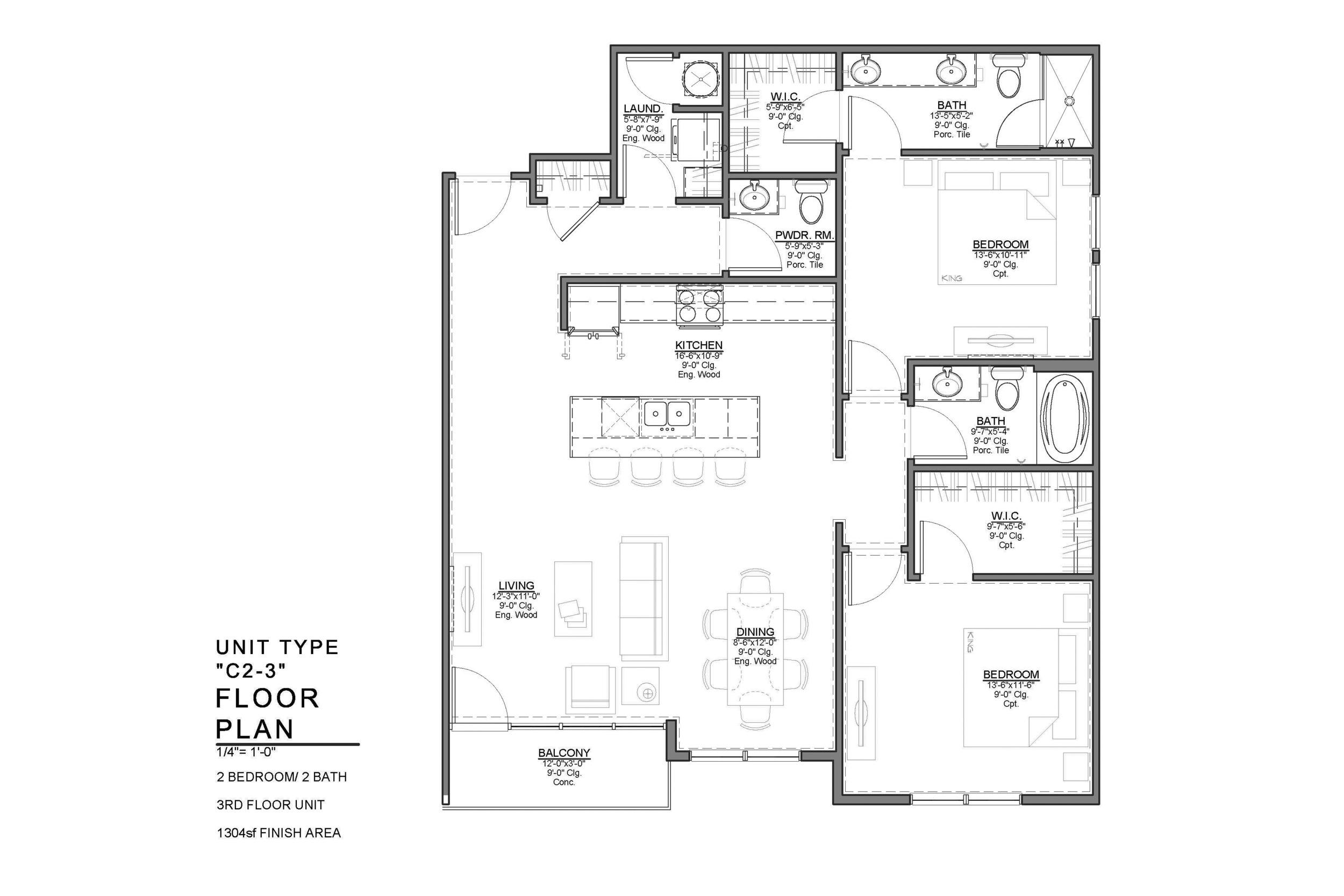 C2-3 FLOOR PLAN: 2 BEDROOM / 2 BATH