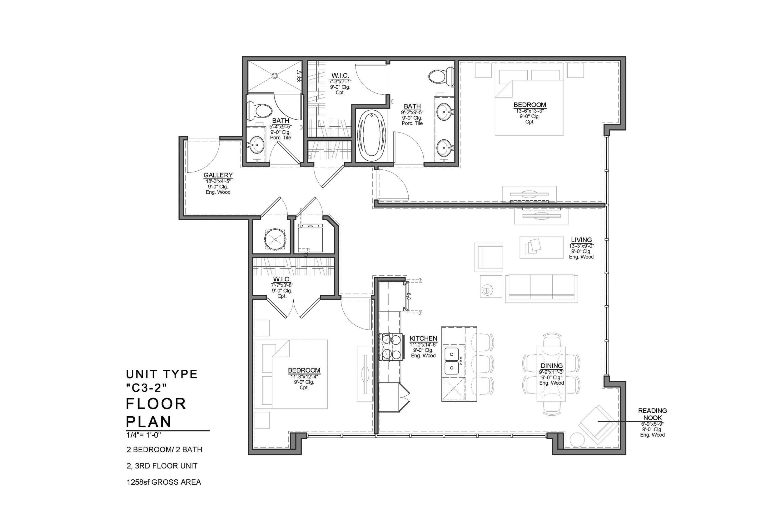 C3-2 FLOOR PLAN: 2 BEDROOM / 2 BATH