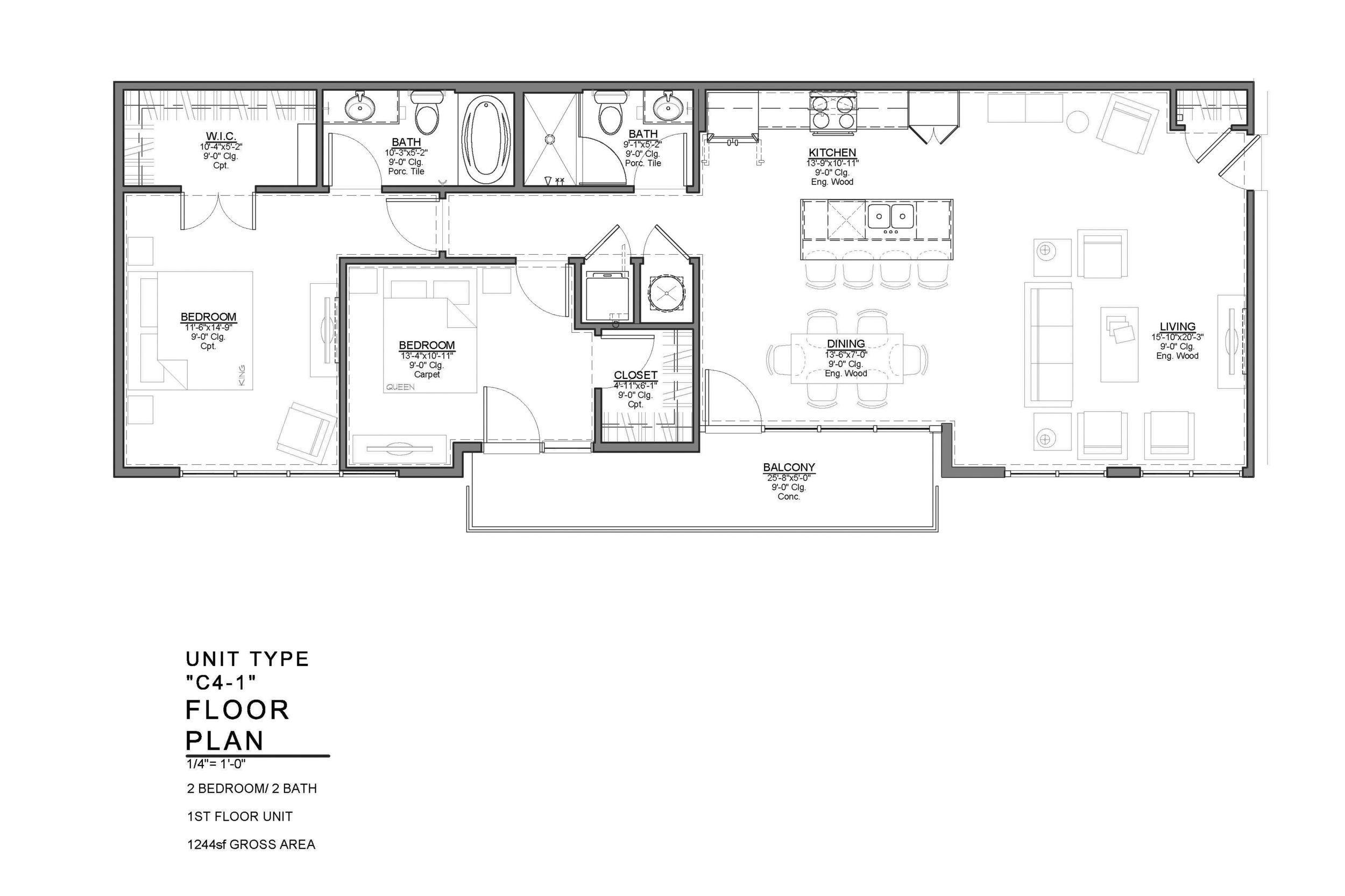 C4-1 FLOOR PLAN: 2 BEDROOM / 2 BATH