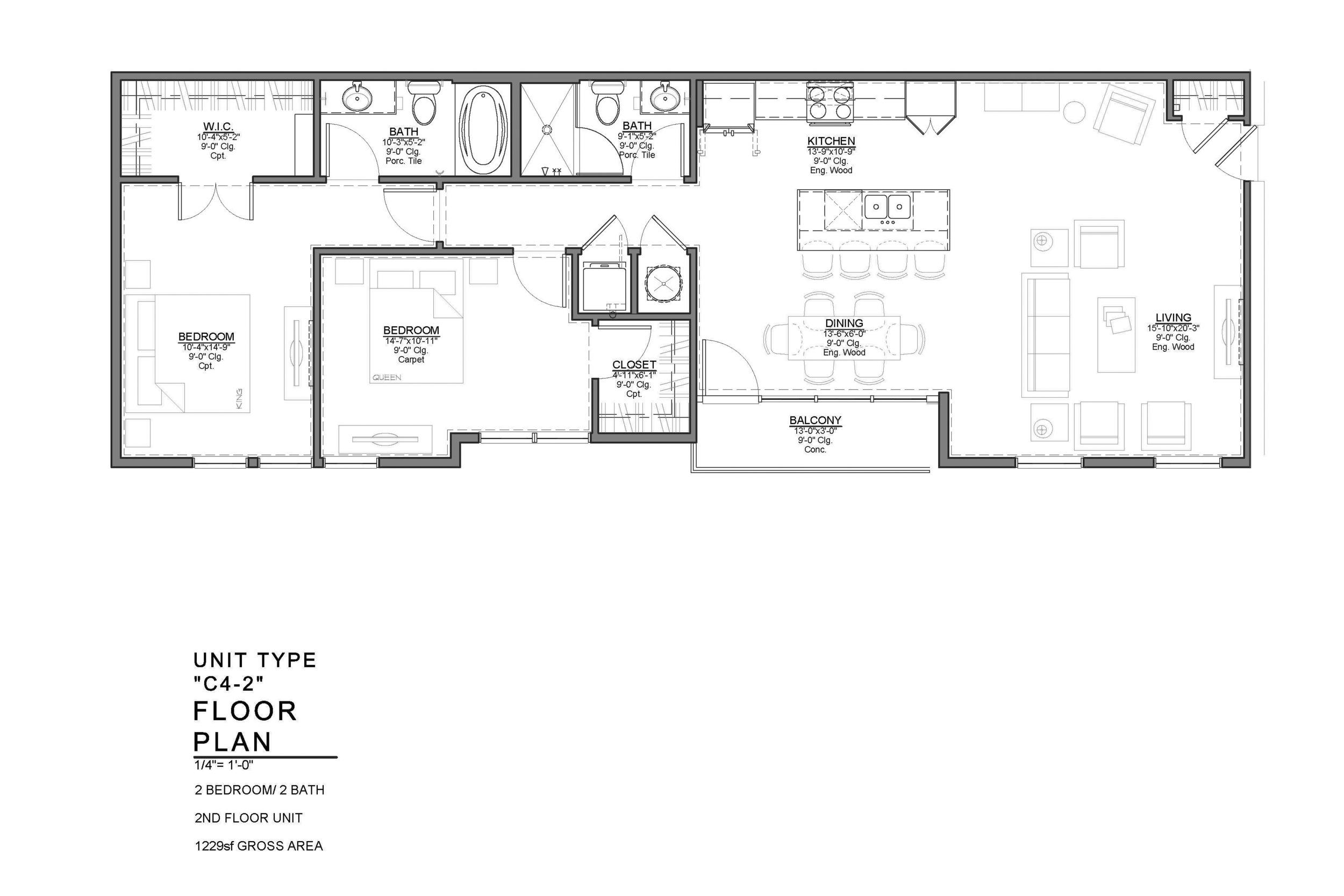 C4-2 FLOOR PLAN: 2 BEDROOM / 2 BATH