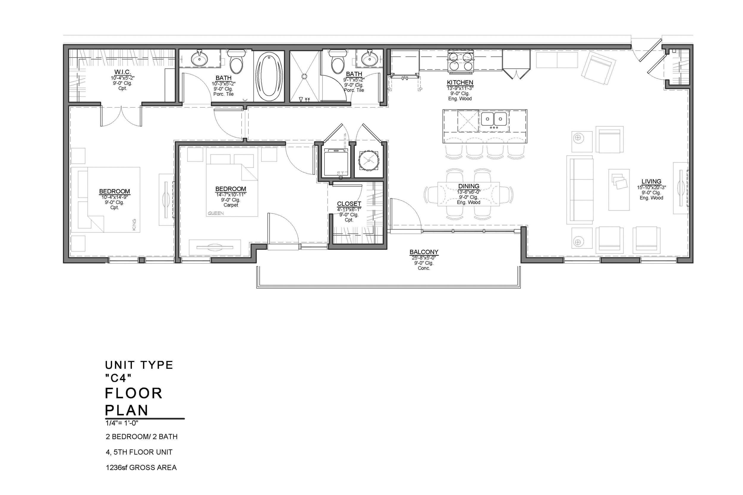 C4 FLOOR PLAN: 2 BEDROOM / 2 BATH