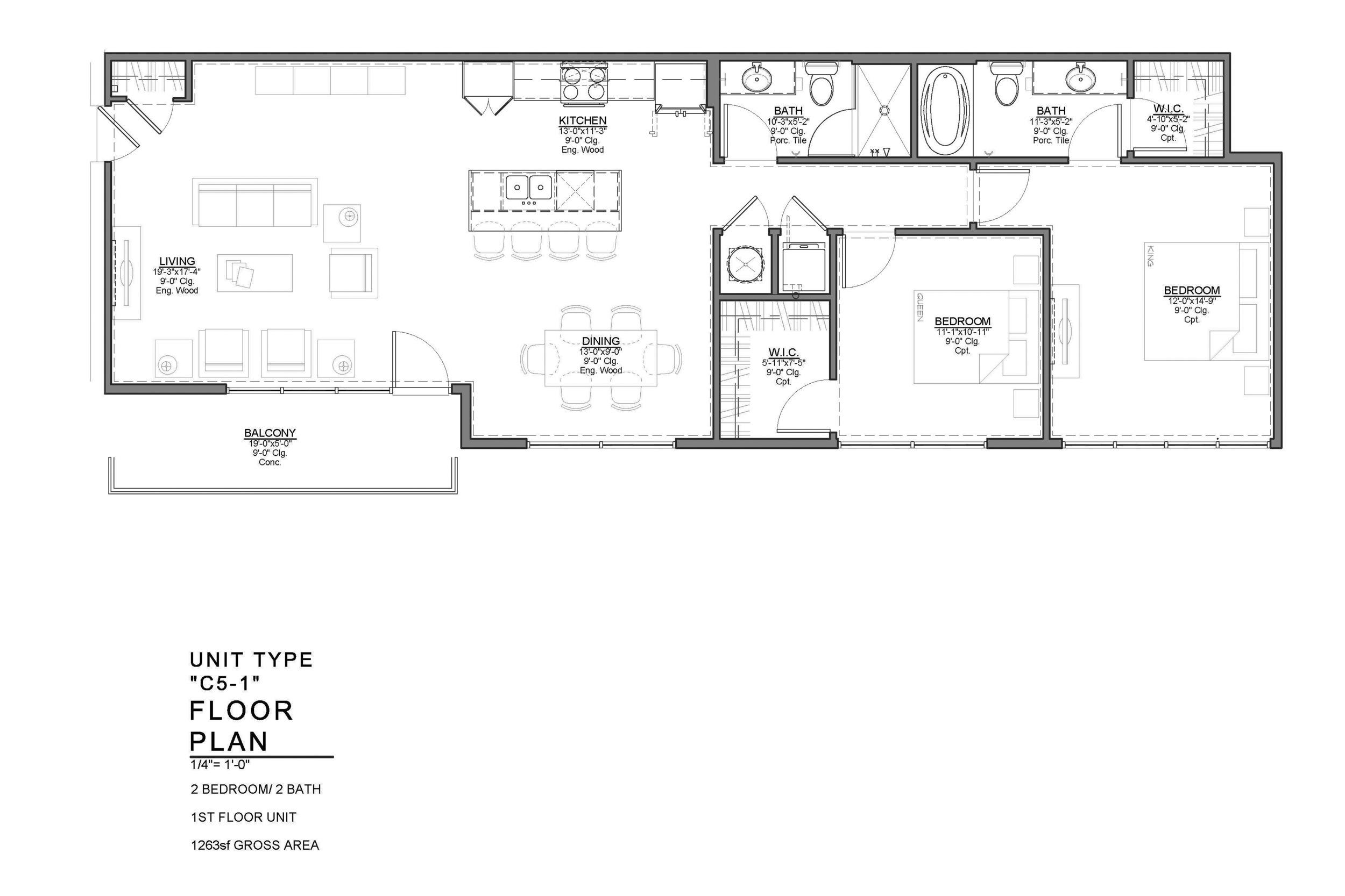 C5-1 FLOOR PLAN: 2 BEDROOM / 2 BATH