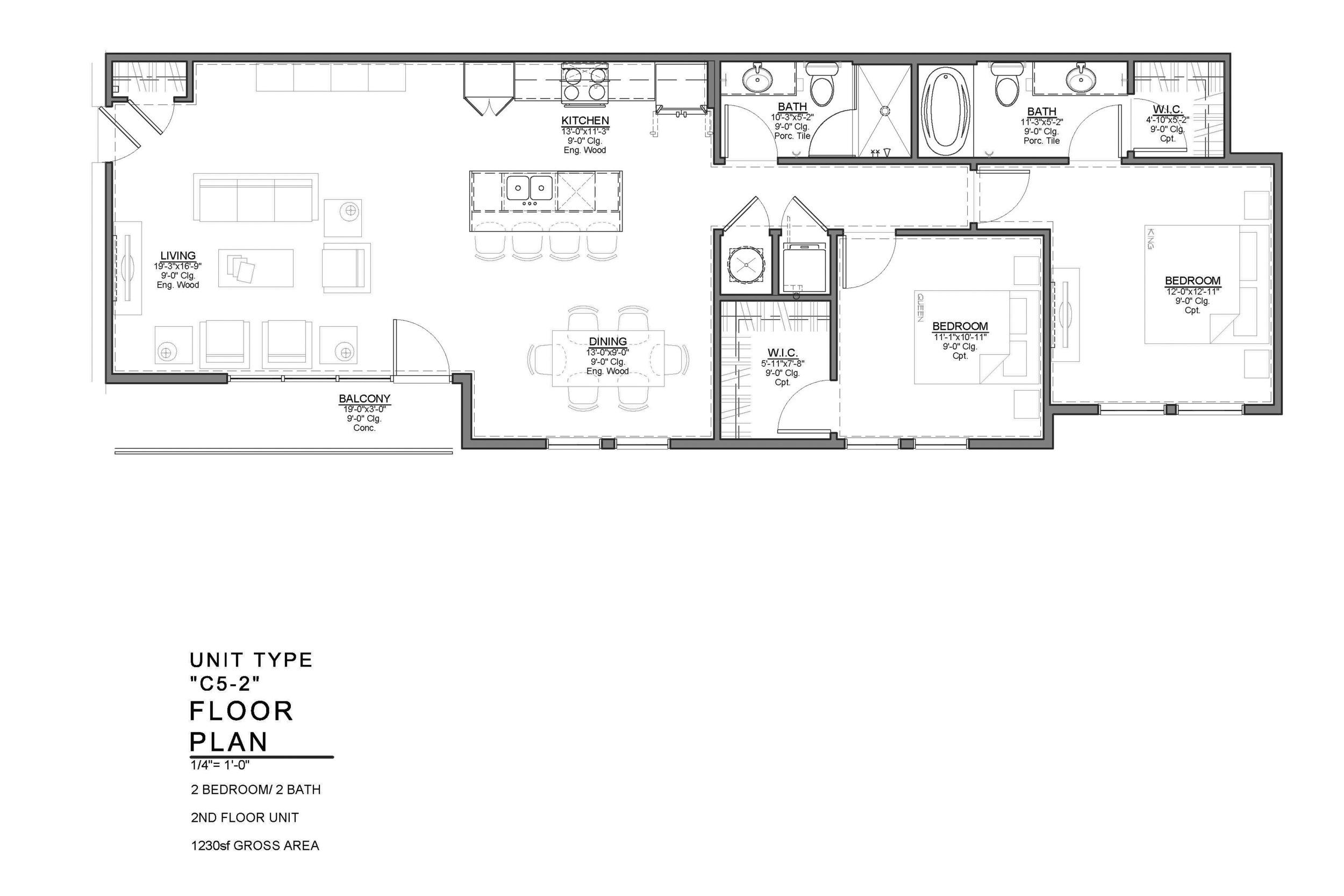 C5-2 FLOOR PLAN: 2 BEDROOM / 2 BATH