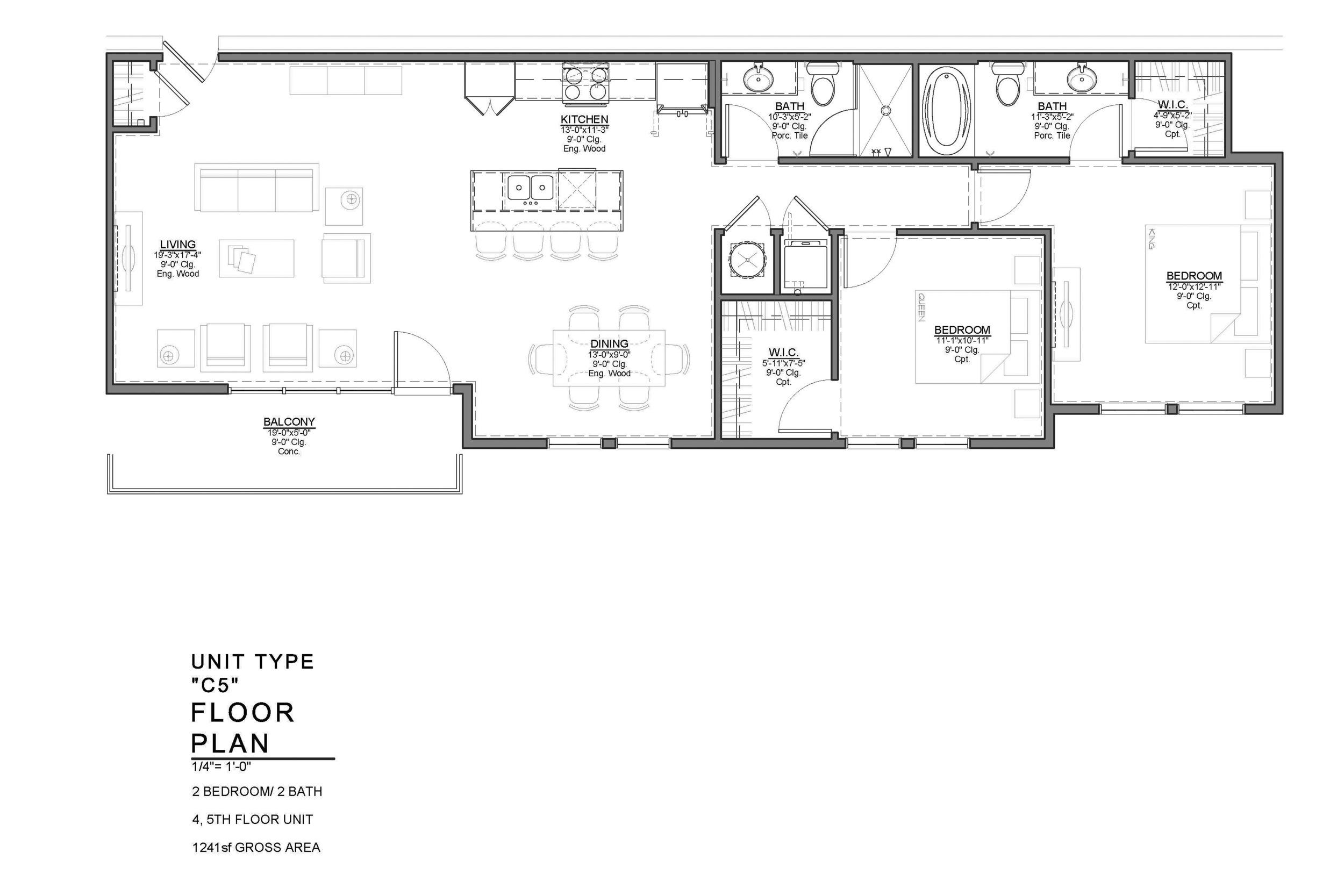 C5 FLOOR PLAN: 2 BEDROOM / 2 BATH