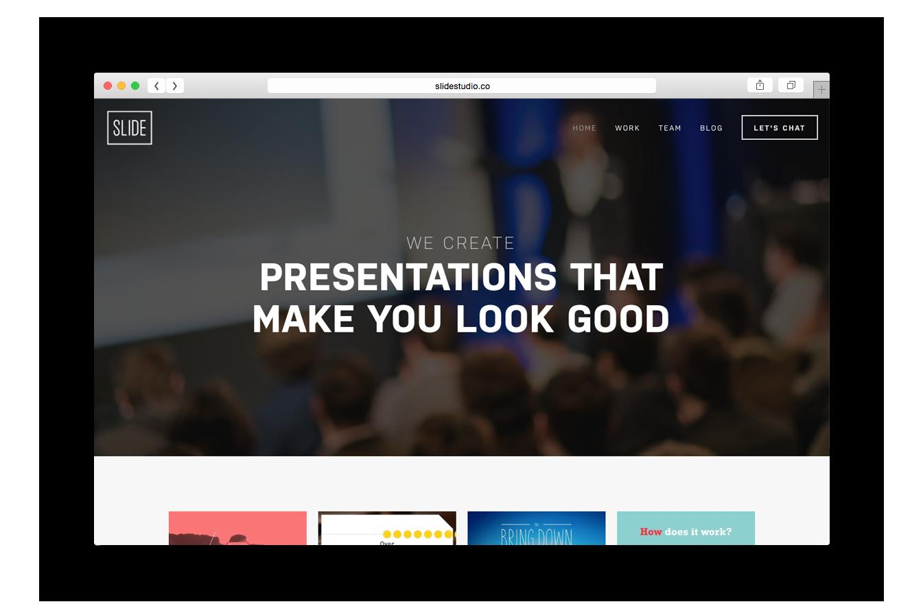 """""""Creamos presentaciones que te hacen lucir bien""""  es el mensaje de bienvenida en la nueva página web de  Slide Studio."""