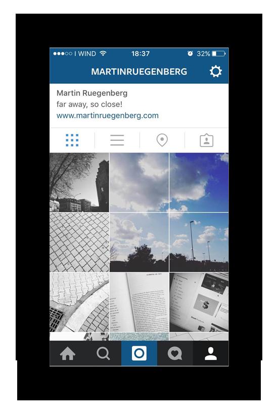 El clásico  lay-out  de  Instagram te permite ver las fotos de un usuario en formato cuadrícula. La idea es jugar con esa posibilidad y explotarla para crear nuevas y creativas maneras de ver y compartir imágenes.