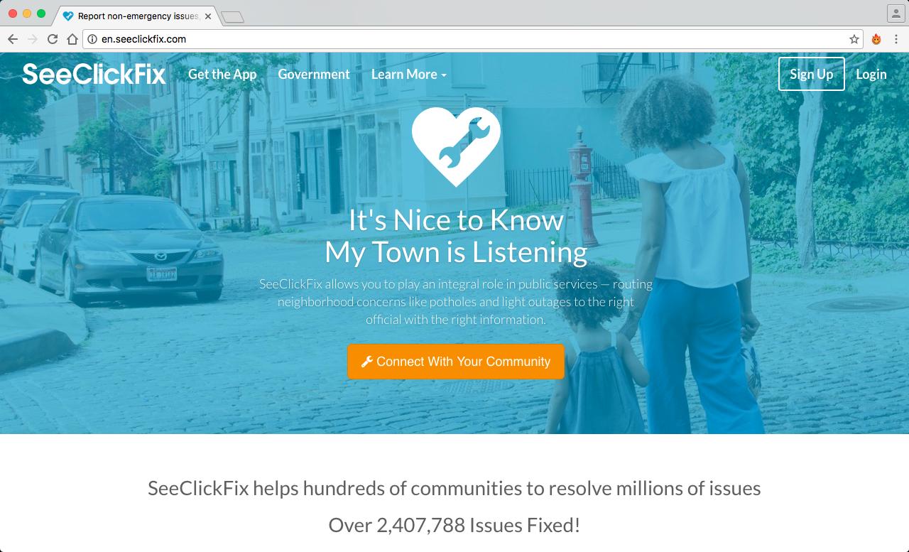 SeeClickFix  es una aplicación (tanto web como móvil) que permite al ciudadano de una ciudad estadounidense conectarse con otros mediante una comunidad virtual, con el fin de reportar problemas en común en sus barrios y calles.
