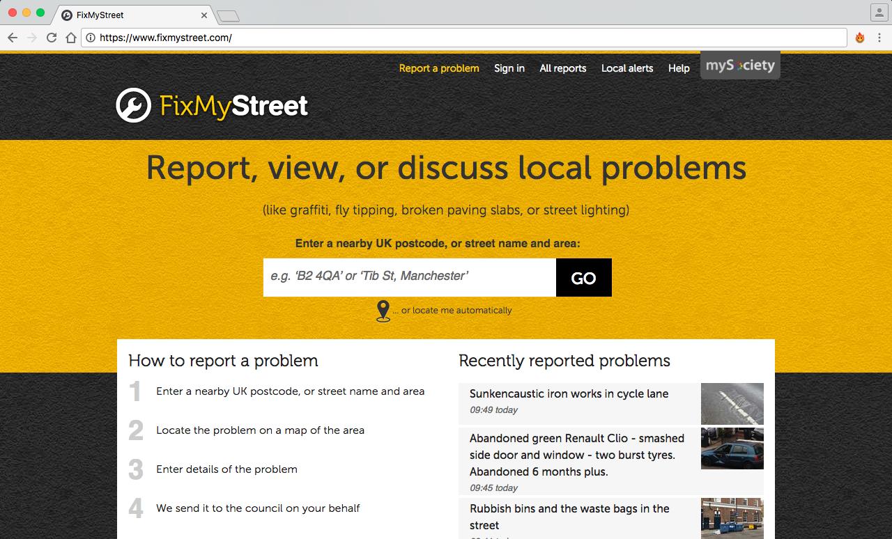 FixMyStreet  es una aplicación web/móvil similar a la anterior, con la única diferencia de que es desarrollada y distribuida abiertamente (open source).