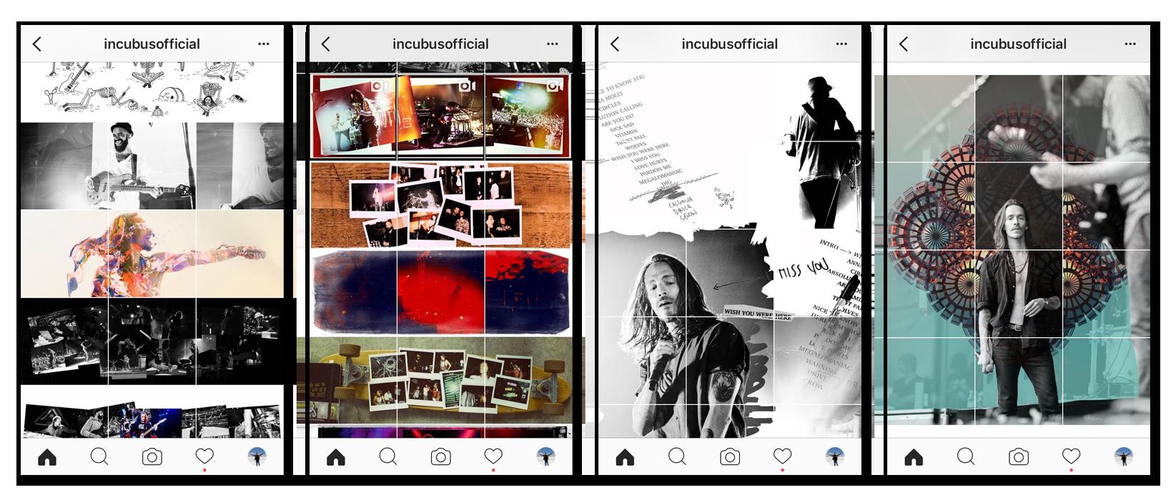 Lo vi en varios perfiles de Instagram, pero el que más me sorprendió fue el de la banda de rock norteamericana Incubus ( @incubusofficial ), por la forma en que comenzaron a diseñar sus posts específicamente para sorprender a sus seguidores de esa manera: una foto a la vez, es parte de una mucho más grande.