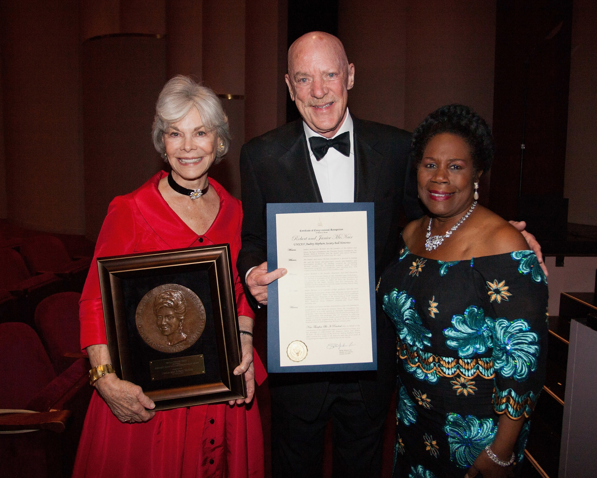 Janice McNair, Robert McNair and Congresswoman Sheila Jackson Lee attend The 2nd Annual UNICEF Audrey Hepburn® Society Ball at the Wortham Center on October 14, 2014 in Houston, Texas. (Photo by Bob Levey/Getty Images for U.S. Fund for UNICEF)