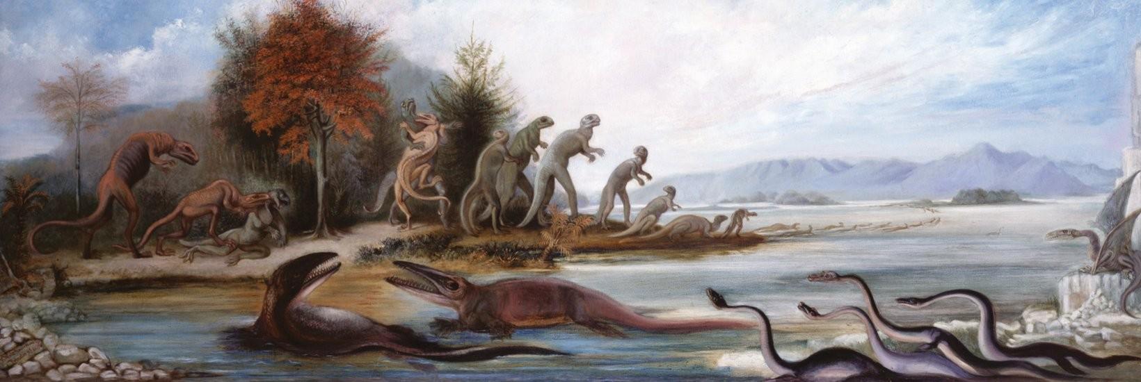 """Benjamin Waterhouse Hawkins, """"Cretaceous Life of New Jersey"""" (1877)"""