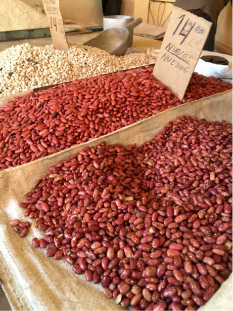 "<p><span style=""font-size:13.125px"">At the Cuban market:  a healthy selection of beans...</span></p>"