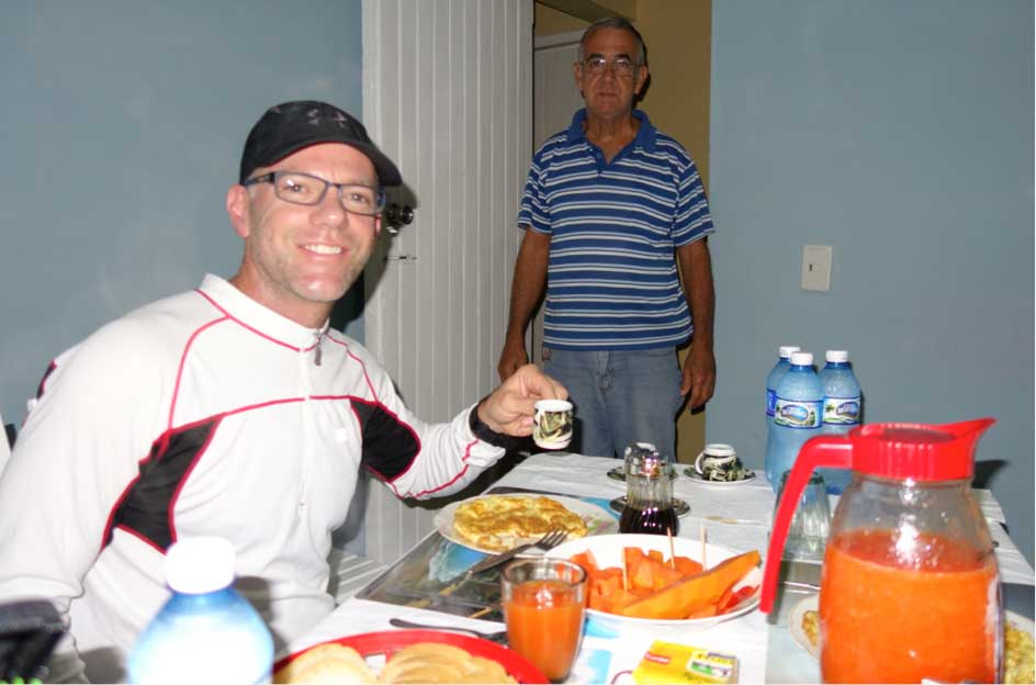 "<p><span style=""font-size:13.125px"">A typical Casa Particular breakfast – tasty, healthy and colorful, but beyond what is possible for most Cubans, and not enough calories for bike touring.</span></p>"