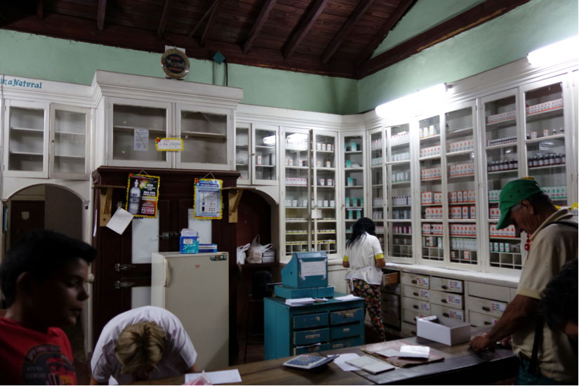 Visit to a Cuban pharmacy.