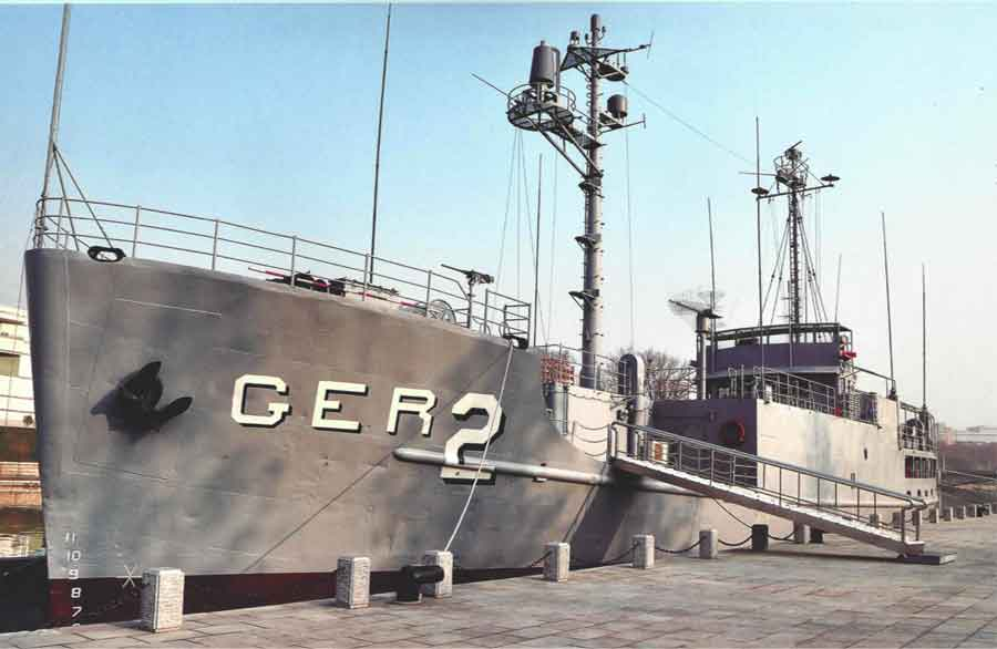 The USS Pueblo is proudly displayed at the museum. The Pueblo was an American spy ship that the DPRK captured 50 years ago.