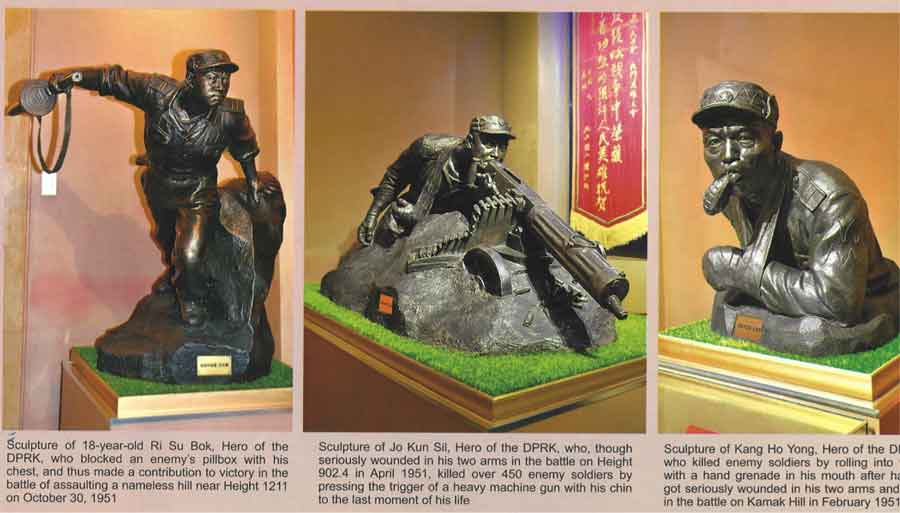 "Monuments to the bold and heroic soldiers of the DPRK. Text in the middle picture:  ""Sculpture of Jo Kun Sil, Hero of the DPRK, who, though seriously wounded in his two arms in the battle on Height 902.4 in April 1951, killed over 450 enemy soldiers by pressing the trigger of a heavy machine gun with his chin to the last moment of his life."""