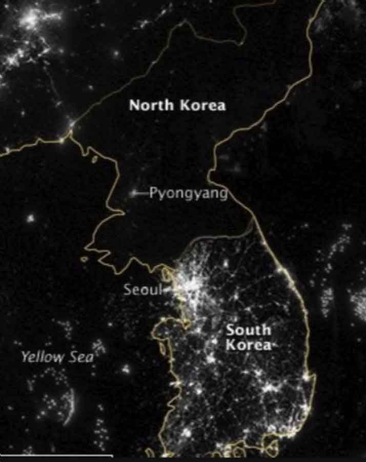An iconic picture contrasting the light output of the south and the north.There is approximately a 20x difference between per-capita GDP on the south side of the border vs. on the north side.No border in the world boasts such disparity. By way of reference, East and West Germany had approximately a 3x differential at the fall.
