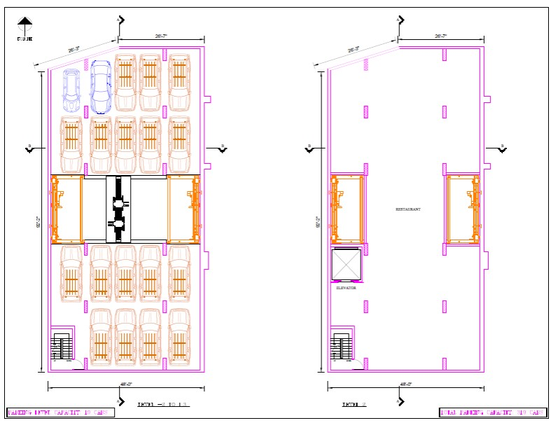 Floors 1 and 2 in Plan View. An interesting concept for the restaurant on Floor 2: the sides of elevator shaft would be glass, allowing diners to see cars moving up and down nearby as they are dining.