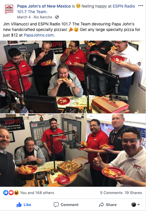 Papa John's at ESPN Radio 101.7 The Team