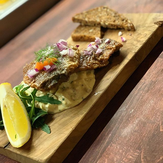 New in! Fried pickled herring with egg and  anchovy salad 🎣 a must try starter.