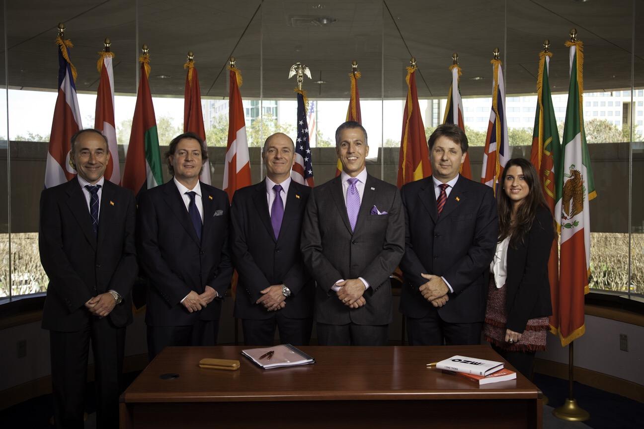 Chris Heller con los propietarios de KW España: Leonardo Cromstedt, Alicia Cromstedt, Fernando Moreno, Alberto Moreno y Alfonso Lacruz (9/02/2015)