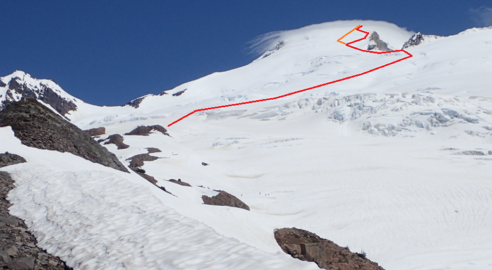 The red indicates our route up the Easton glacier and the orange indicates our way down. We took the red to stay close to the ridge to try and mitigate avalanche danger.