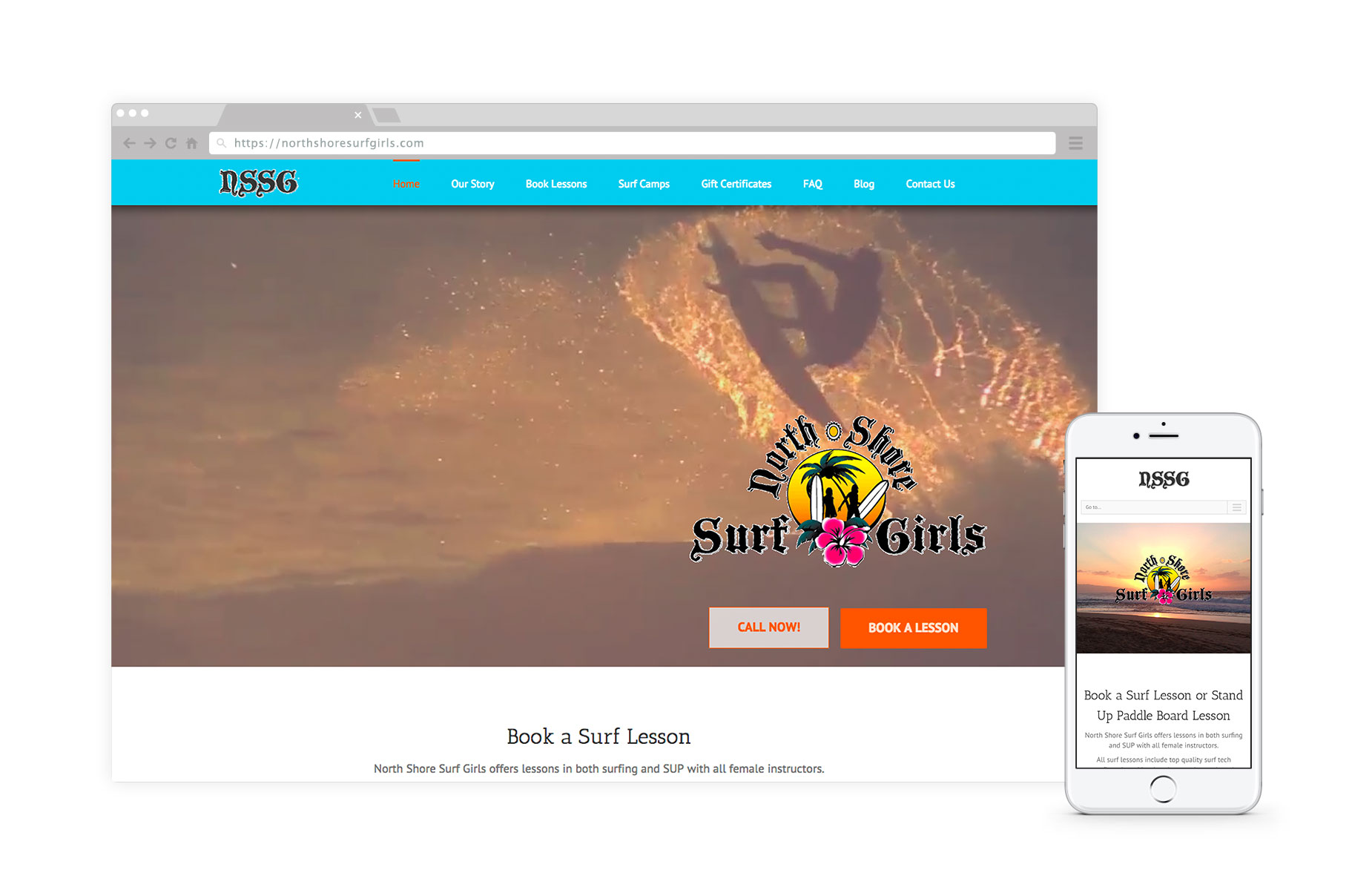 North Shore Surf Girls - North Shore Surf Girls Surf School is located on the storied North Shore of Oahu, Hawaii. #ecommerceLearn how we helped NSSG sell and book surfing lessons
