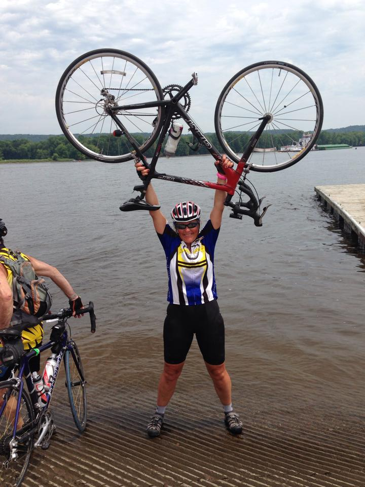 Martha completes RAGBRAI (dipping rear tire in the Missouri River at the beginning of the ride and your front tire at the end of the ride is a RAGBRAI tradition).