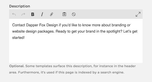 Meta Description in SquareSpace - Dapper Fox Design