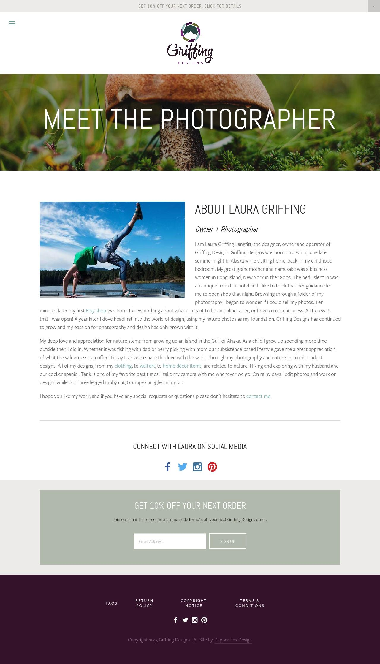 Earthy and Modern Website Design for Griffing Designs. Nature Photography Website and Branding by Dapper Fox Design