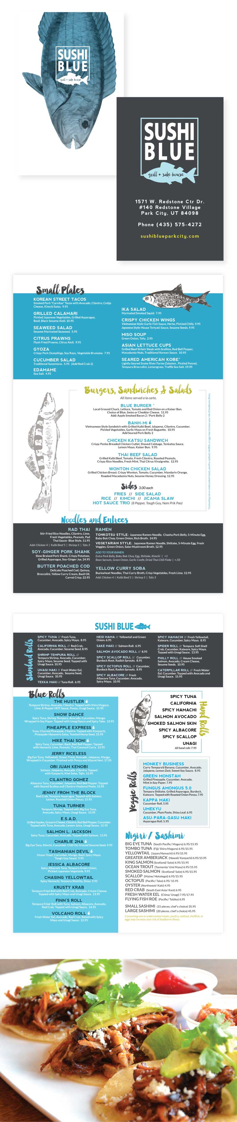Menu Design for Sushi Blue Restaurant in Park City - Modern Logo and Branding by Dapper Fox Design