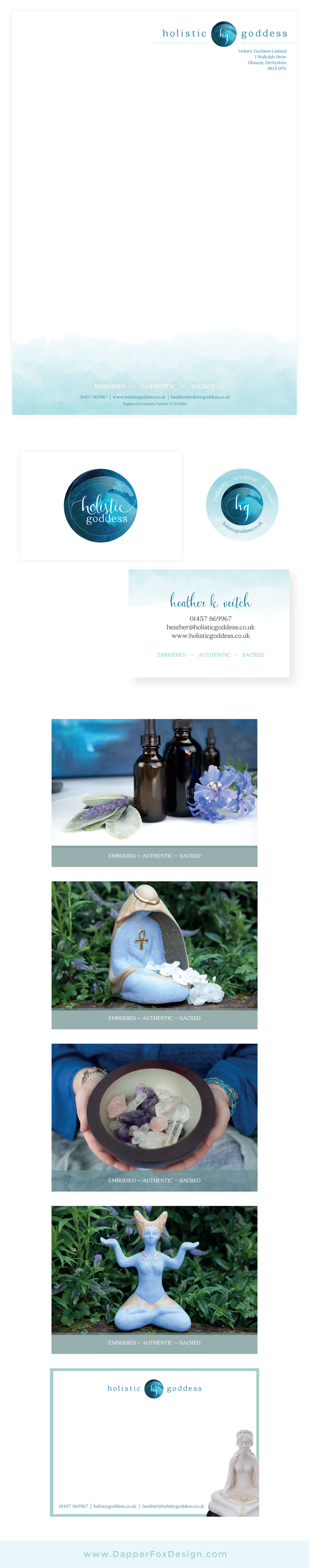 Holistic Goddess branding business card, letterhead, collateral Design by Dapper Fox Design - Ocean Logo, blue, modern logo design