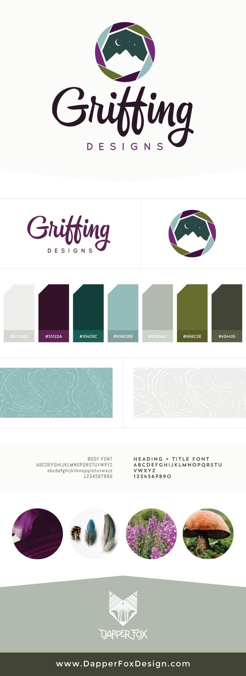 Brand Board for Griffing Designs - Modern Logo Design, Earthy, Green, Blue, Purple Branding, Artistic Logo. Brand and Websites by Dapper Fox Design