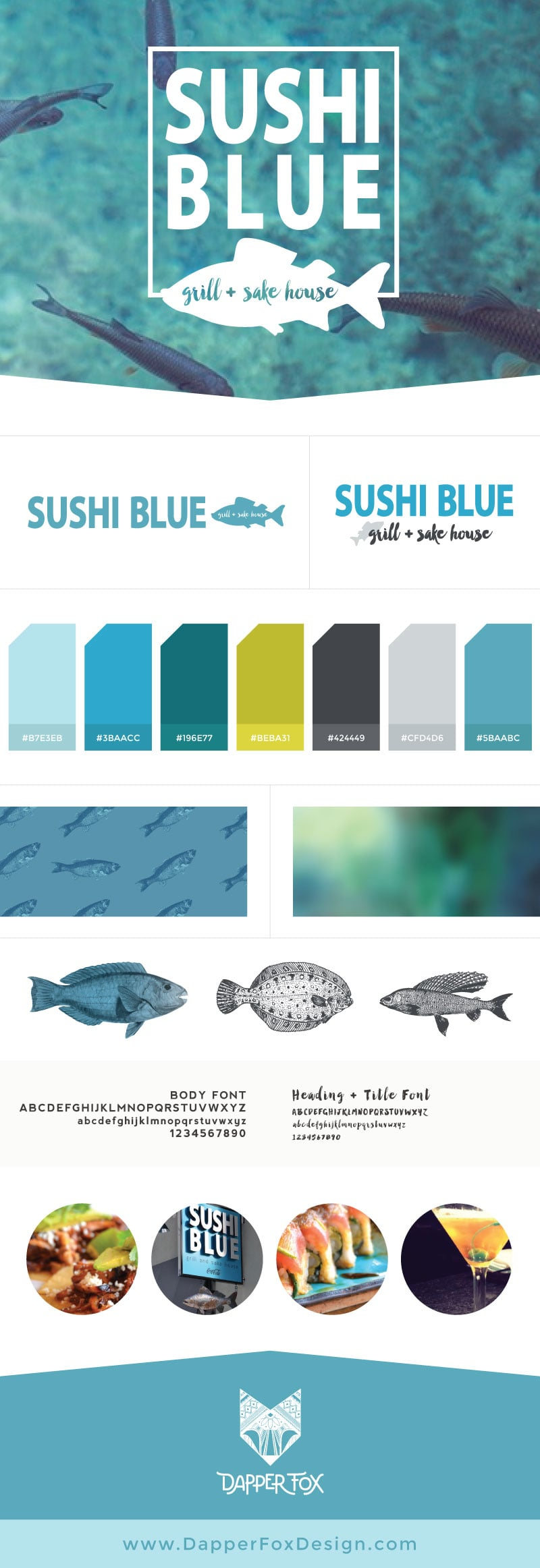 Brand Board for Sushi Blue in Park City by Dapper Fox Design - Blue, Green, Handwriting, Clean, Unique Brand and Logo