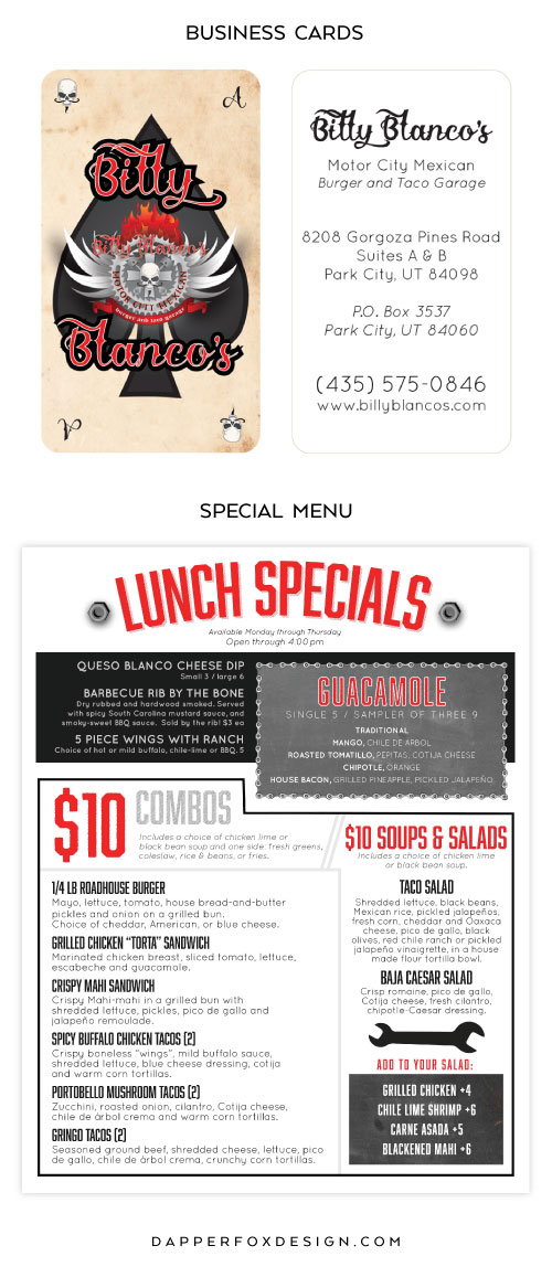Restaurant Menu Design and Business Cards for Billy Blanco's by Dapper Fox