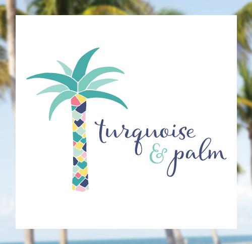 Turquoise and Palm Logo Design by Dapper Fox - Feminine, Chic,Modern Branding and Logo Design